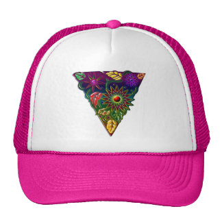 flower and fall leaves in triangle Print Hat