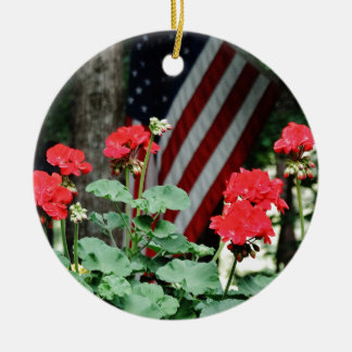 Flower and flag Red white and blue Christmas Ornament