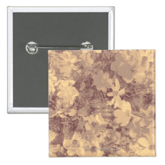 Flower and leaf camouflage pattern on beige 15 cm square badge