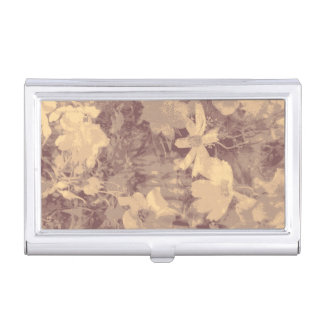 Flower and leaf camouflage pattern on beige business card holder