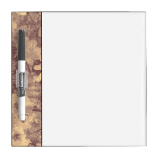 Flower and leaf camouflage pattern on beige dry erase board