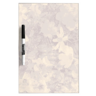 Flower and leaf camouflage pattern on beige dry erase boards
