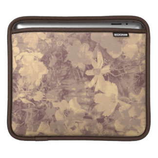 Flower and leaf camouflage pattern on beige iPad sleeve