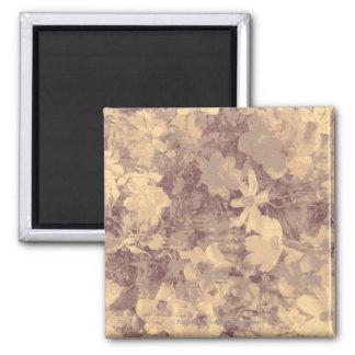 Flower and leaf camouflage pattern on beige magnet