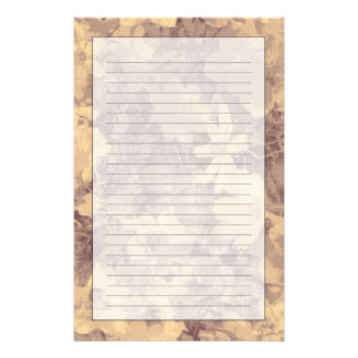 Flower and leaf camouflage pattern on beige personalized stationery