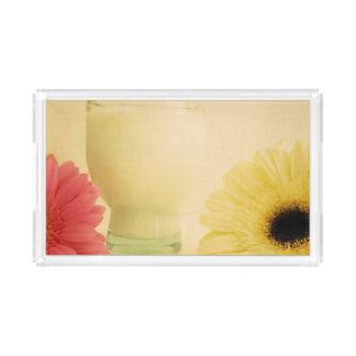 Flower and milk acrylic tray