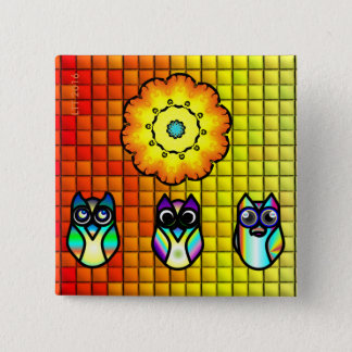 Flower And Owls with Tiled Background 15 Cm Square Badge