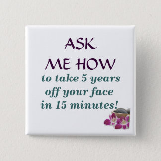 flower and stones,  to take 5 years off your fa... 15 cm square badge