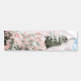 Flower and the Merciful Goddess 菩 薩 with Ise shrin Bumper Sticker
