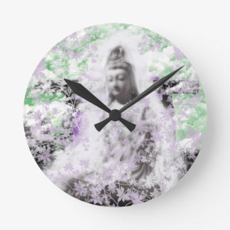 Flower and the Merciful Goddess 菩 薩 with Ise shrin Wall Clock