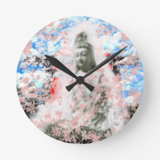 Flower and the Merciful Goddess 菩 薩 with Ise shrin Wall Clocks