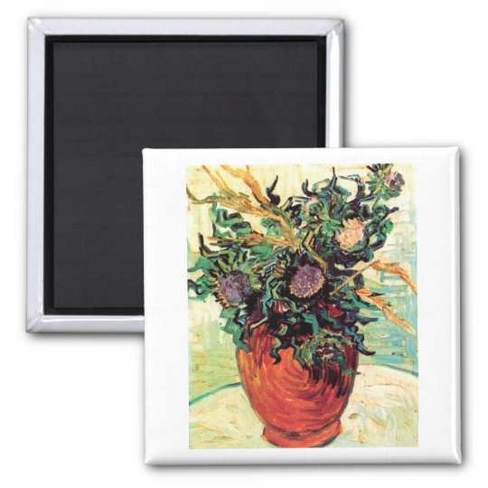Flower and Thistles Van Gogh Fine Art Square Magnet