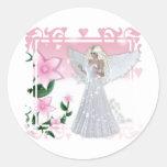 Flower Angel Design Round Sticker