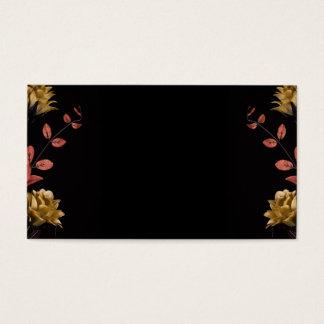 Flower arrangement with warm dark tones on black business card