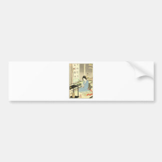 Flower Arranging and Tea Ceremony by Toyohara Bumper Sticker