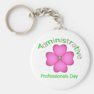 Flower Art Administrative Professionals Day Basic Round Button Key Ring