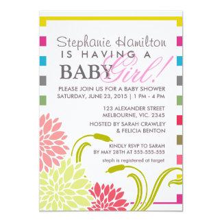 Flower baby girl shower invites
