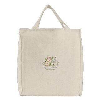 Flower Basket Embroidered Canvas Carryall Embroidered Bag