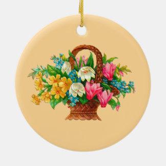FLOWER BASKET VINTAGE DESIGN CHRISTMAS ORNAMENT