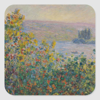 Flower Beds at Vetheuil by Claude Monet Square Sticker
