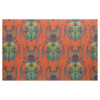flower beetle orange fabric