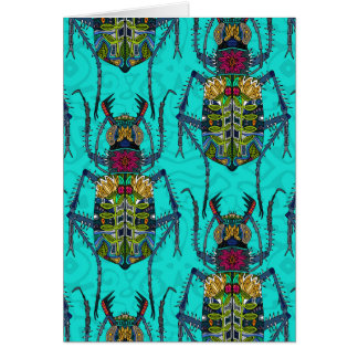 flower beetle turquoise greeting card