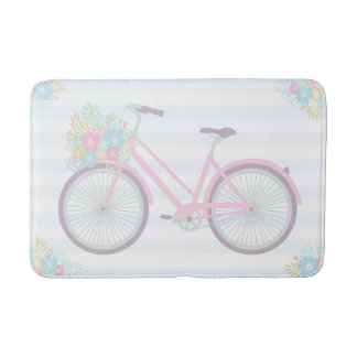 Flower Bicycle Cute Fun Hipster Pink Blue Bath Mat