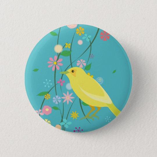 flower bird(blue) 6 cm round badge