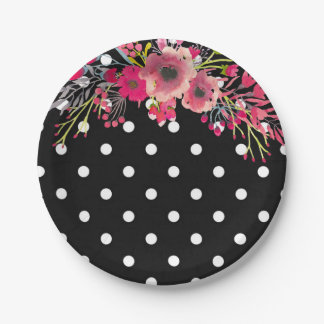 Flower black and white polka dot glamour fashion paper plate