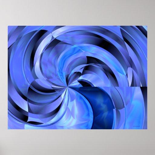 Flower Blues Generative Art Abstract Print