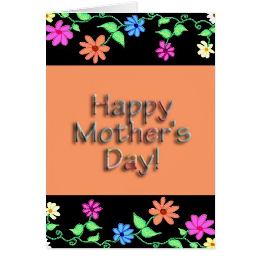 flower border mother's day card  verse inside  zazzle