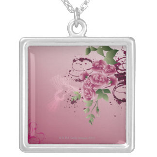 Flower Bouqet Silver Plated Necklace