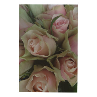 Flower Bouquet of Pink Roses Wood Canvases