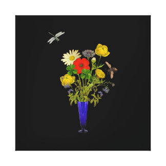 Flower bouquet on canvas