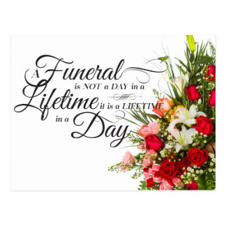 Flower bouquet script sympathy quote for funeral postcard