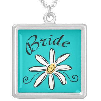 Flower Bride Square Pendant Necklace