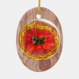 Flower Bubble across wood Ceramic Oval Decoration