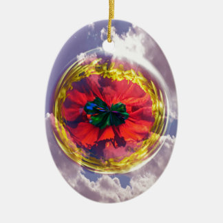 Flower Bubble in the sky Ceramic Oval Decoration