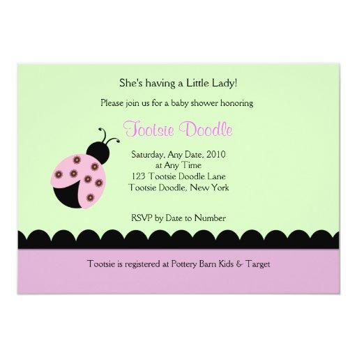 Flower Bug Lady Bug Baby Shower Invitation 13 Cm X 18 Cm Invitation Card