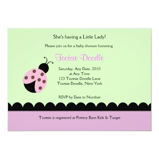 Flower Bug Lady Bug Baby Shower Invitation