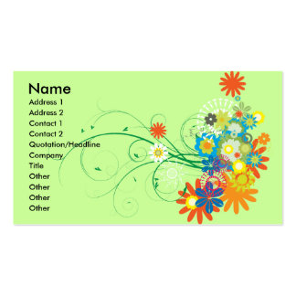 flower bunches of swirls vector business card templates