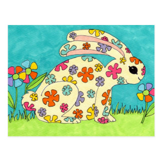 Flower Bunny Postcard