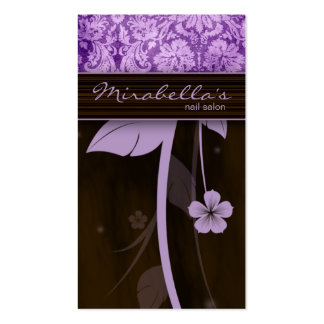 Flower Business Card Damask Purple Brown
