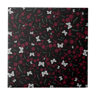 Flower Butterflies Small Square Tile