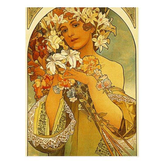 Flower by Alphonse Mucha Postcard