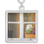 Flower by the window, Sighisoara, Romania Square Pendant Necklace