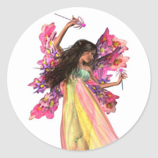 Flower Carnival Fairy Classic Round Sticker