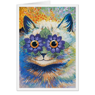 Flower Cat by Louis Wain Card