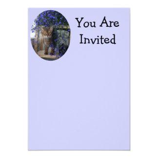 Flower Cat 13 Cm X 18 Cm Invitation Card