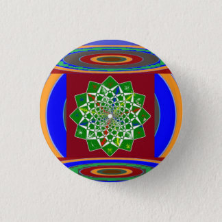 FLOWER CHAKRA Wheel Energy: Emerald Green 3 Cm Round Badge